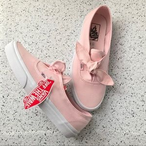 New Vans Canvas Bow Knot Slip On Shoes Pink